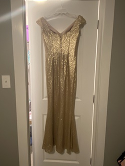 Bari Jay Gold Size 6 Sequin Mermaid Dress on Queenly