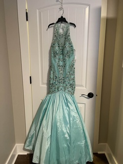 Sherri Hill Green Size 0 Pageant Halter Mermaid Dress on Queenly