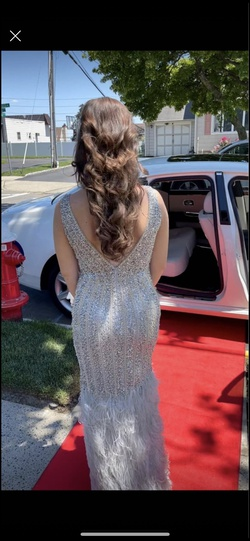 Jovani Silver Size 6 Prom Pageant Mermaid Dress on Queenly