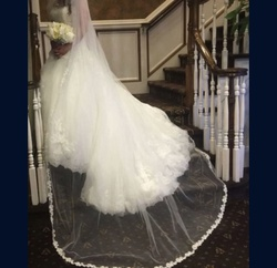 Reem bridal White Size 8 Ball gown on Queenly