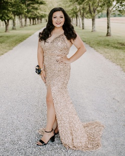 Sherri Hill Gold Size 10 Prom Jewelled Side slit Dress on Queenly