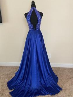 Sherri Hill Blue Size 0 Short Height Halter Side slit Dress on Queenly