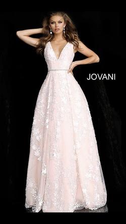Jovani Light Pink Size 4 Belt V Neck Fitted Train Dress on Queenly
