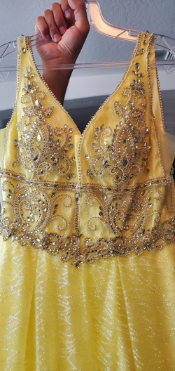 Yellow Size 8 Ball gown on Queenly