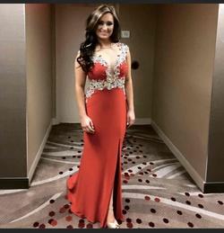 Rachel Allan Red Size 4 Jersey Train Straight Dress on Queenly