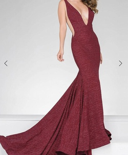 Style 47075 Jovani Red Size 4 Prom Train Dress on Queenly