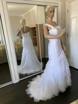 Claudine White Size 10 Pageant One Shoulder Mermaid Dress on Queenly