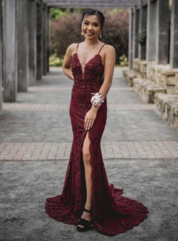 Jovani Red Size 00 Short Height Burgundy Prom Mermaid Dress on Queenly