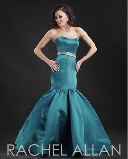 Style 8095 Rachel Allan Green Size 6 Belt Pageant Teal Mermaid Dress on Queenly