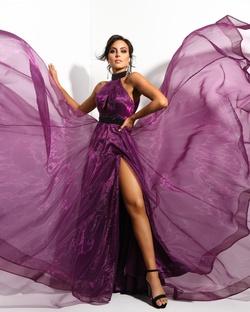 Mac Duggal Purple Size 4 Halter Macduggal Custom Side slit Dress on Queenly