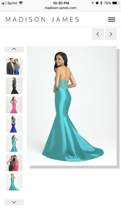 Madison James Green Size 2 Pageant Silk Mermaid Dress on Queenly