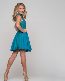 Sherri Hill Green Size 4 Flare Teal Cocktail Dress on Queenly