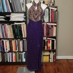 Laurence Kazar Purple Size 8 Gold Side Slit Jersey Silk Straight Dress on Queenly
