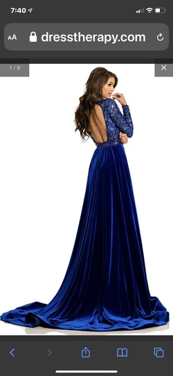 Johnathan Kayne Blue Size 4 Johnathon Kayne Overskirt Straight Dress on Queenly