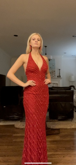 Jovani Red Size 0 Halter Tall Height A-line Dress on Queenly