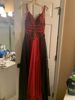 Jovani Red Size 4 Floral Train Tulle Straight Dress on Queenly