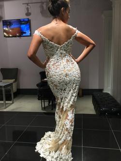 Jovani White Size 4 Belt Sheer A-line Dress on Queenly