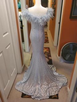 Jovani Blue Size 4 Fringe A-line Dress on Queenly