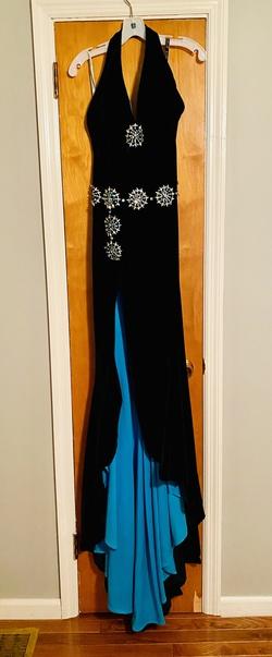 Jovani Blue Size 4 Velvet Side slit Dress on Queenly