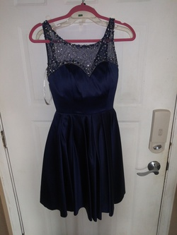 Sherri Hill Blue Size 2 Wedding Guest Cocktail Dress on Queenly