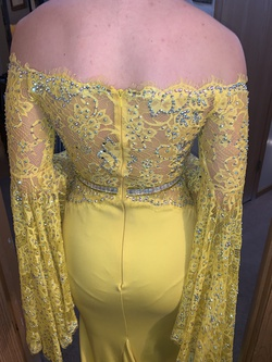 Jonathan Kayne Yellow Size 2 Bell Sleeves Pageant Train Dress on Queenly