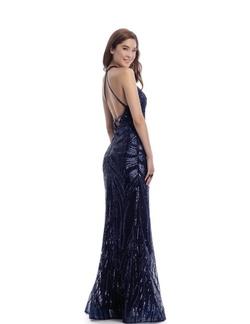 Clarisse Blue Size 2 Halter Straight Dress on Queenly
