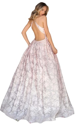 Clarisse Pink Size 2 Backless Halter Ball gown on Queenly