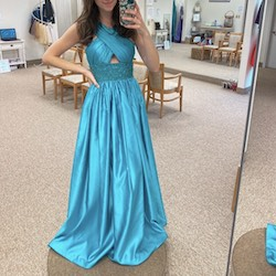 Sherri Hill Blue Size 6 Pageant Belt Halter Ball gown on Queenly
