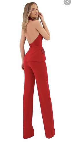 Tarik Ediz Red Size 2 Halter Backless Jumpsuit Dress on Queenly