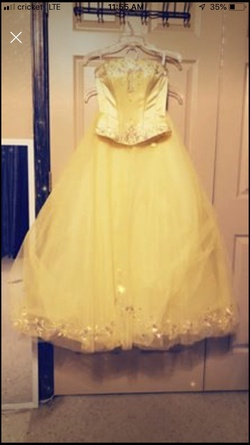 Tiffany Designs Yellow Size 4 Prom Quinceanera Ball gown on Queenly