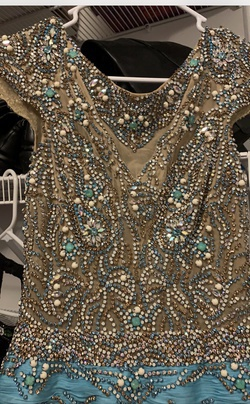 Style Custom Couture  Sherri Hill Multicolor Size 6 Pageant Turquoise Mermaid Dress on Queenly