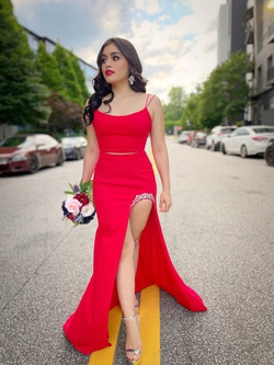 Sherri Hill Red Size 2 Two Piece Prom Side slit Dress on Queenly
