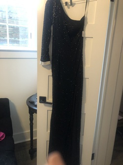 Sherri Hill Black Size 4 One Shoulder Straight Dress on Queenly