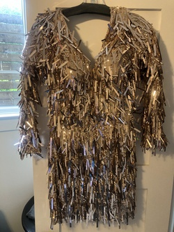 Sherri Hill Gold Size 4 Sleeves Mini Cocktail Dress on Queenly