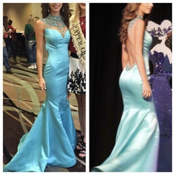 Sherri Hill Blue Size 00 Sequin Mermaid Dress on Queenly