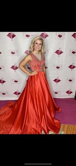 Rachel Allan Red Size 0 Backless Custom Sheer Train Dress on Queenly
