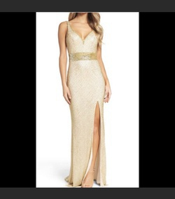 Mac Duggal Gold Size 16 Prom Pageant Straight Dress on Queenly