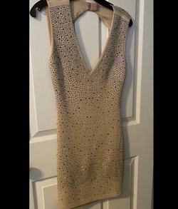 Wow Couture Nude Size 8 Jersey Mini Nightclub Cocktail Dress on Queenly