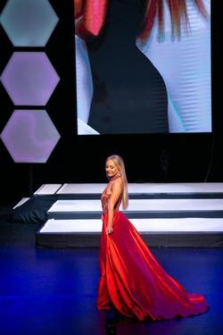 Jovani Red Size 2 Custom Overskirt Halter Train Dress on Queenly