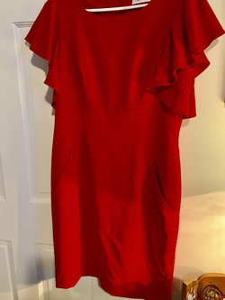 Calvin Klein Red Size 10 Wedding Guest Ruffles Cocktail Dress on Queenly