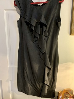 Calvin Kline Silver Size 10 Wedding Guest Gray Ruffles Cocktail Dress on Queenly