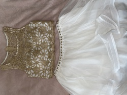 Sequin Hearts White Size 6 Two Piece Gold Cocktail Dress on Queenly