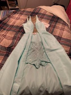 Rachel Allan Blue Size 6 Jumpsuit Dress on Queenly