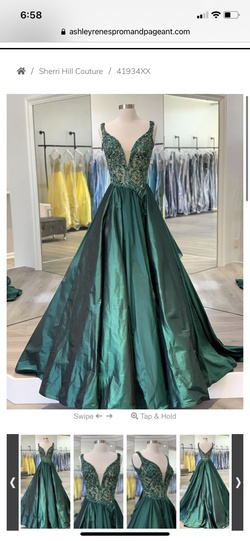 Sherri Hill Green Size 4 Pageant A-line Dress on Queenly