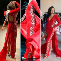 Jovani Red Size 2 Backless Sheer Straight Dress on Queenly