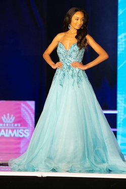 Jovani Blue Size 4 Custom Ball gown on Queenly