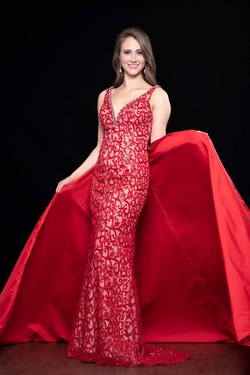 Style 44305 Panoply Red Size 4 Train Dress on Queenly