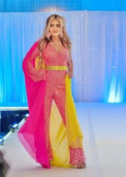 Ashley Lauren Pink Size 00 Fun Fashion Cape Jumpsuit Dress on Queenly