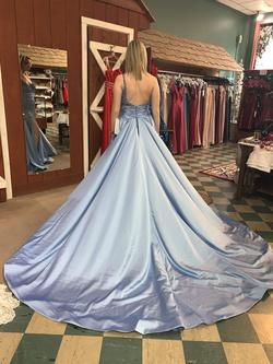 Rachel Allan Blue Size 8 Pageant Train Dress on Queenly