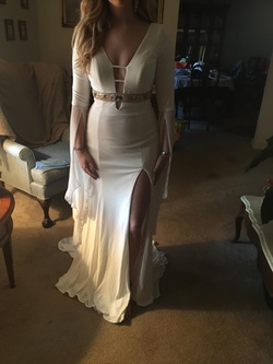 Rachel Allan White Size 6 Sleeves Pageant Side slit Dress on Queenly
